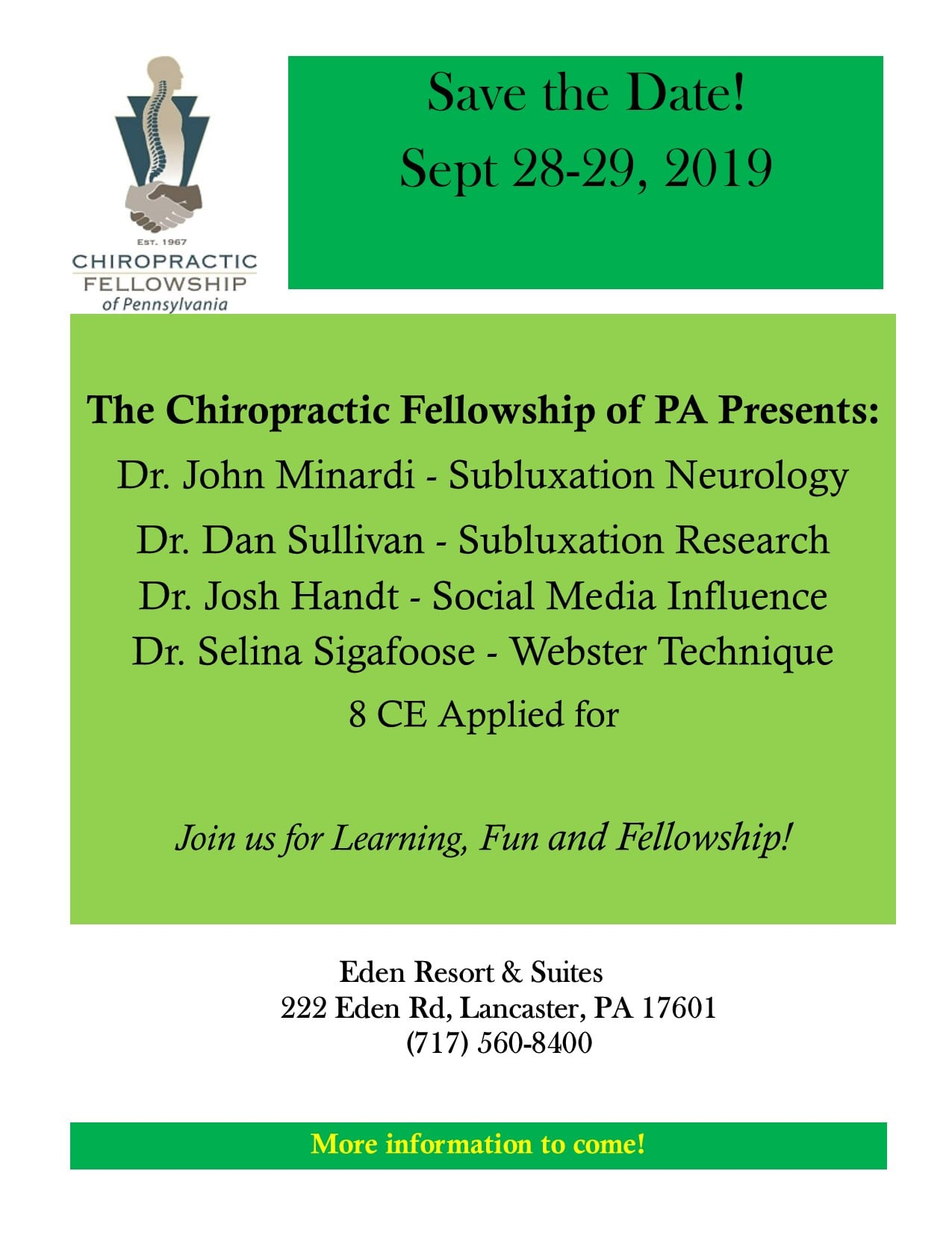 Save the Date – 2019 CFOP Conference – Chiropractic Fellowship of PA